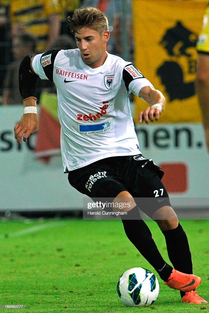 Remo Staubli of FC Aarau in action during the Swiss Super League match between FC Aarau v BSC Young Boys at Brugglifeld on August 10, 2013 in Aarau, Switzerland.