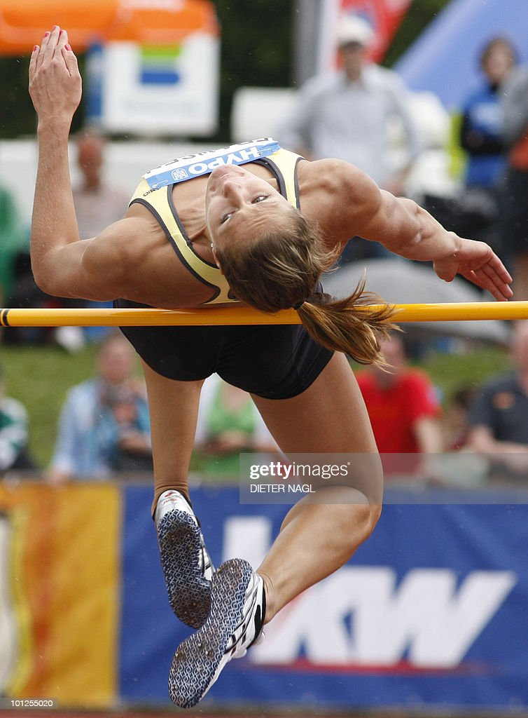 Remona Fransen of the Netherlands competes during the womens high jump event on the first day of the women's hepathlon meeting held in Goetzis, Austria on May 29, 2010 some 640 kilometers west of Vienna.