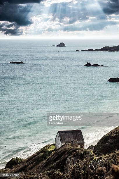Remote beach on the Brittany coast in France