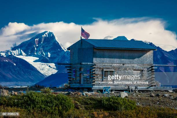 Remote Cabin along Denali Highway Route 8 offers views of Mnt Hess Mountain Mt Hayes Alaska Alaska