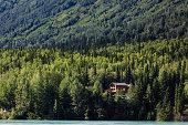 Remote cabin in the woods reveals itself in the Alaskan wilderness in summertime