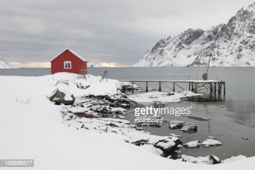 Remote house in coastal landscape, Skjelfjord,  Flakstadoya,   Loftofen,  Norway : Stock Photo