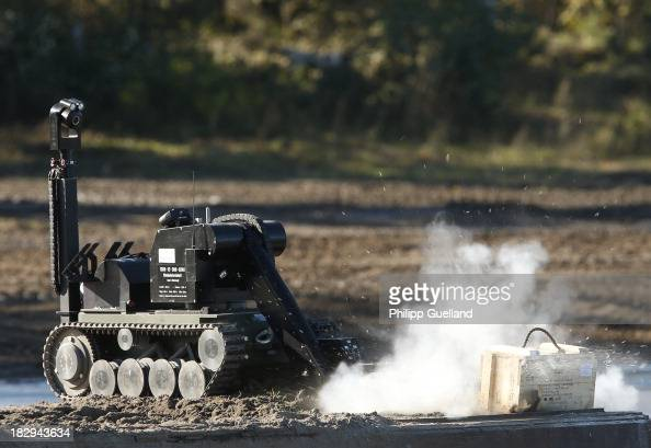 A remote operated EOD vehicle is seen during the annual military exercises held for the media at the Bergen military training grounds on October 2...
