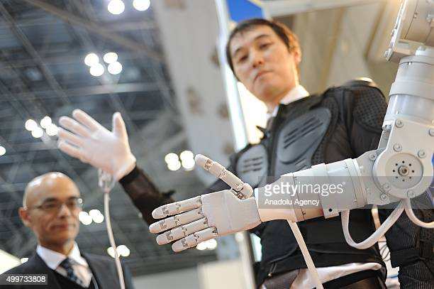 A remote robot motion system is seen during the international Robot exhibition 2015 at Tokyo Big Sight Japan on December 3 2015