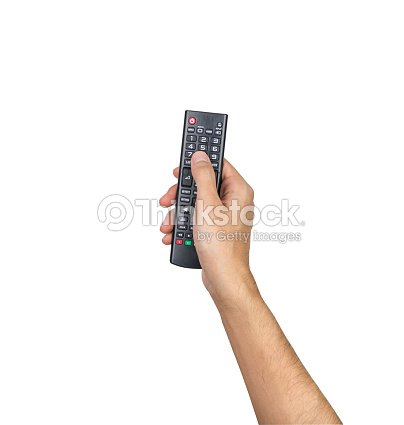 Remote TV controller hand holding isolated on white background, clipping path : Stock Photo