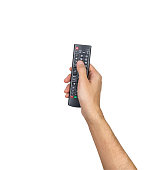 Remote TV controller hand holding isolated on white background, clipping path