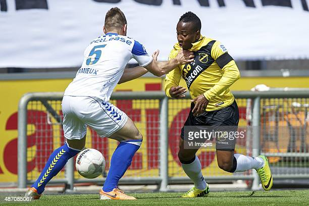 Remy Amieux of RKC Waalwijk Elson Hooi of NAC Breda during the Dutch Eredivisie match between NAC Breda and RKC Waalwijk at Rat Verlegh stadium on...