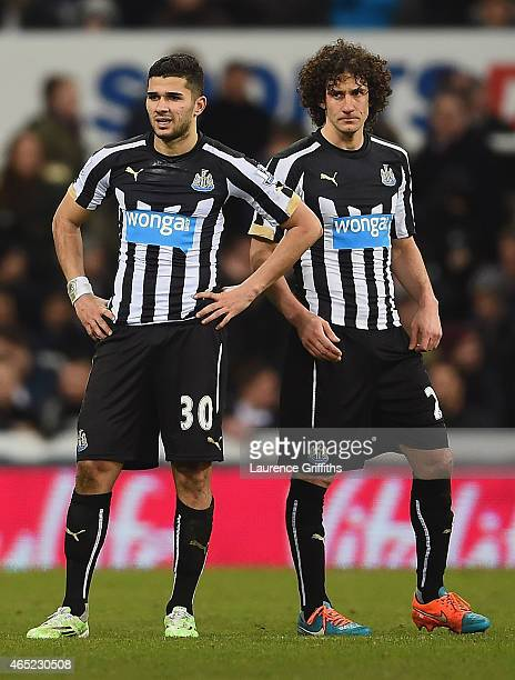 Remy Cabella and Fabricio Coloccini of Newcastle United look on during the Barclays Premier League match between Newcastle United and Manchester...