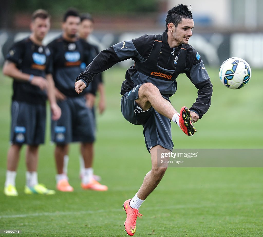 Remy Cabella controls the ball during a Newcastle United First Team Training Session at the Newcastle United Training Centre on September 18, 2014, in Newcastle upon Tyne, England.