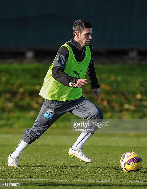 Remy Cabella looks to pass the ball during a training session at The Newcastle United Training Centre on January 08 in Newcastle upon Tyne England