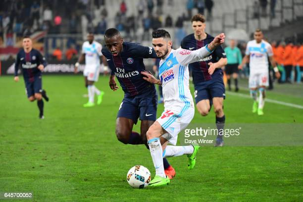 Remy Cabella of Marseille and Blaise Matuidi of PSG during the French Ligue 1 match Marseille and Paris Saint Germain at Stade Velodrome on February...