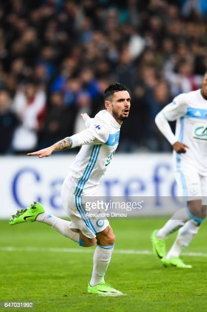 Remy Cabella of Marseille celebrates his goal during the French Cup match between Marseille and Monaco at Stade Velodrome on March 1 2017 in...