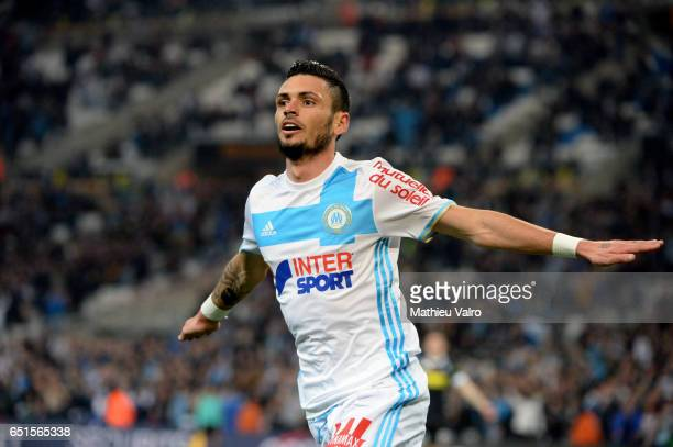 Remy CABELLA of Marseille celebrates his goal during the Ligue 1 match between Olympique de Marseille and SCO Angers at Stade Orange Velodrome on...