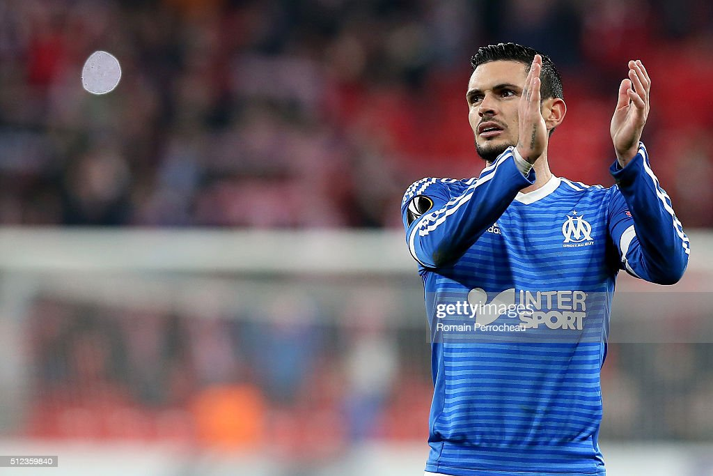 Remy Cabella of Marseille reacts after the UEFA Europa League Football round of 32 second leg match between Athletic Bilbao and Olympique de Marseille at San Mames on February 25, 2016 in Bilbao, Spain.