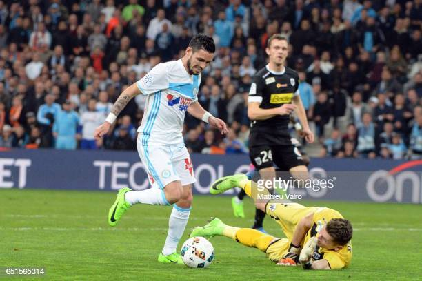 Remy CABELLA of Marseille scores a goal during the Ligue 1 match between Olympique de Marseille and SCO Angers at Stade Orange Velodrome on March 10...