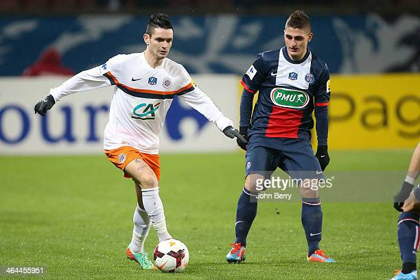 Remy Cabella of Montpellier in action during the French Cup match between Paris SaintGermain FC and Montpellier HSC at the Parc des Princes stadium...