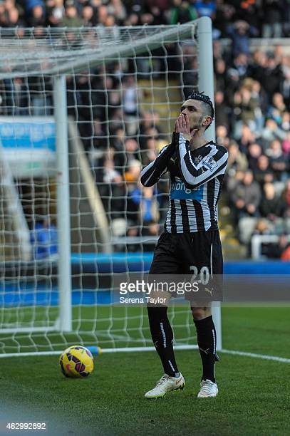 Remy Cabella of Newcastle holds his hands to his face after missing a goal during the Barclays Premiership Match between Newcastle United and Stoke...