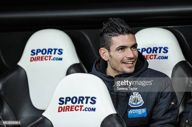 Remy Cabella of Newcastle sits in the dugout prior to kick off of the Barclays Premier League match between Newcastle United and Burnley at StJames'...