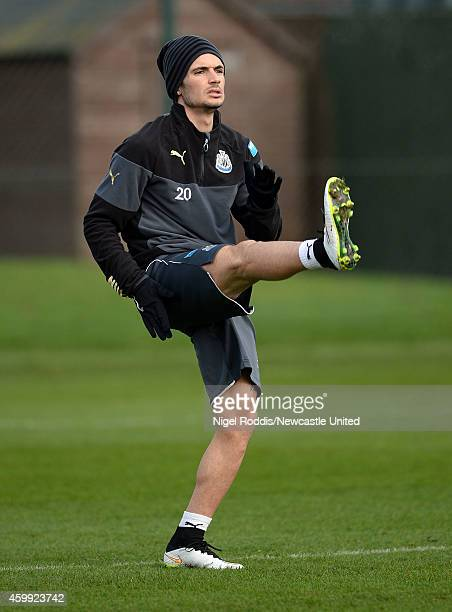 Remy Cabella of Newcastle United during a training session at The Newcastle United Training Centre on December 4 2014 in Newcastle upon Tyne England