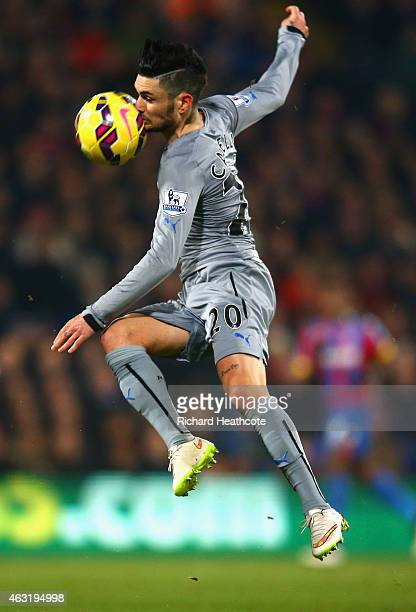 Remy Cabella of Newcastle United is hit in the face by the ball during the Barclays Premier League match between Crystal Palace and Newcastle United...