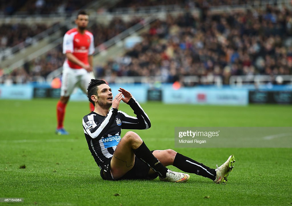 Remy Cabella of Newcastle United reacts during the Barclays Premier League match between Newcastle United and Arsenal at St James' Park on March 21, 2015 in Newcastle upon Tyne, England.