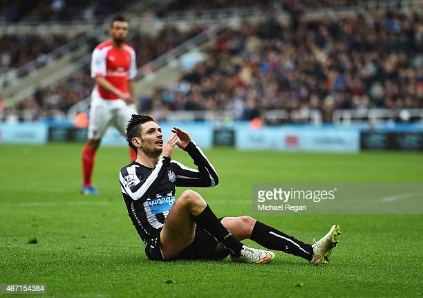 Remy Cabella of Newcastle United reacts during the Barclays Premier League match between Newcastle United and Arsenal at St James' Park on March 21...