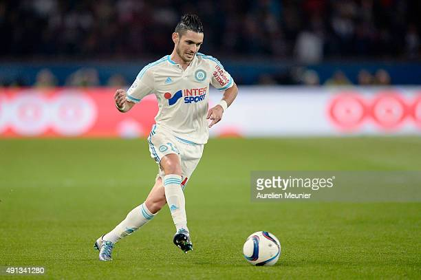 Remy Cabella of Olympique de Marseille passes the ball during the Ligue 1 game between Paris SaintGermain and Olympique de Marseille at Parc des...