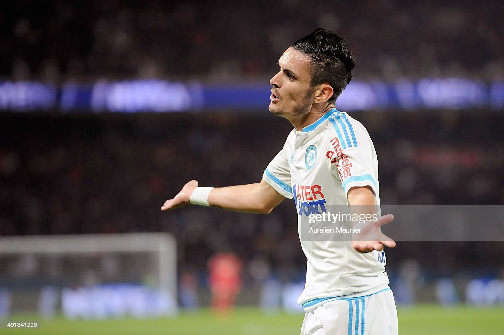 Remy Cabella of Olympique de Marseille reacts after an off side during the Ligue 1 game between Paris Saint-Germain and Olympique de Marseille at Parc des Princes on October 4, 2015 in Paris, France.
