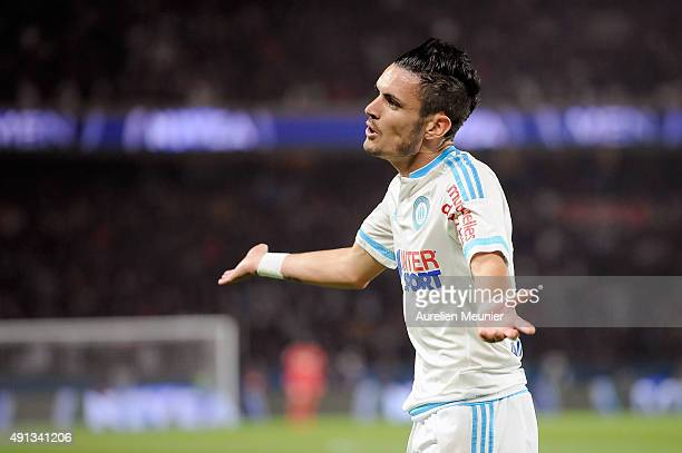 Remy Cabella of Olympique de Marseille reacts after an off side during the Ligue 1 game between Paris SaintGermain and Olympique de Marseille at Parc...