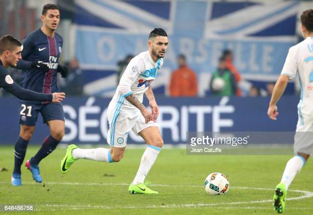 Remy Cabella of OM in action during the French Ligue 1 match between Olympique de Marseille and Paris Saint Germain at Stade Velodrome on February 26...