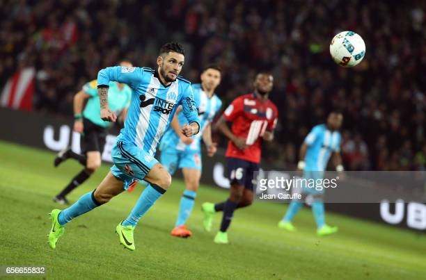 Remy Cabella of OM in action during the French Ligue 1 match between Lille OSC and Olympique de Marseille at Stade PierreMauroy on March 17 2017 in...