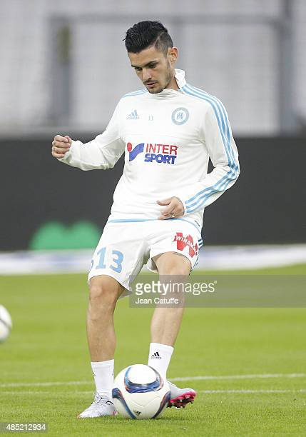 Remy Cabella of OM warms up before the French Ligue 1 match between Olympique de Marseille and Troyes ESTAC at New Stade Velodrome on August 23 2015...