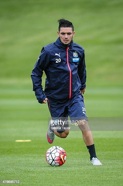 Remy Cabella runs with the ball during a Newcastle United PreSeason Training sessions at The Newcastle United Training Centre on July 6 in Newcastle...