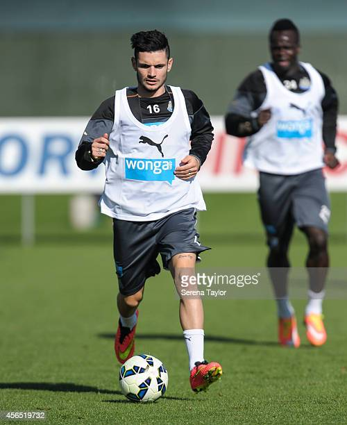Remy Cabella runs with the ball during a training session at The Newcastle United Training Centre on October 2 in Newcastle upon Tyne England