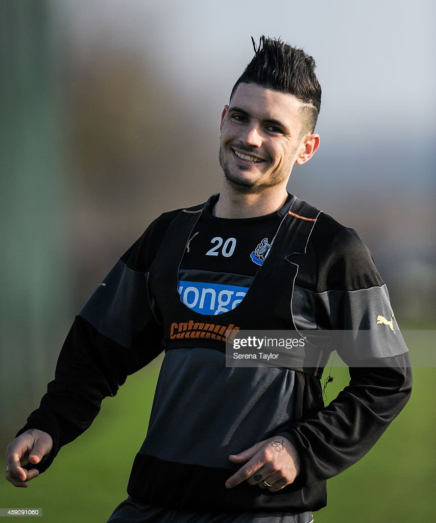 Remy Cabella smiles during a Newcastle United training session at The Newcastle United Training Centre on November 20, 2014, in Newcastle upon Tyne, England.