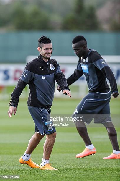 Remy Cabella warms up during a training session at The Newcastle United Training Centre on September 27 in Newcastle upon Tyne England