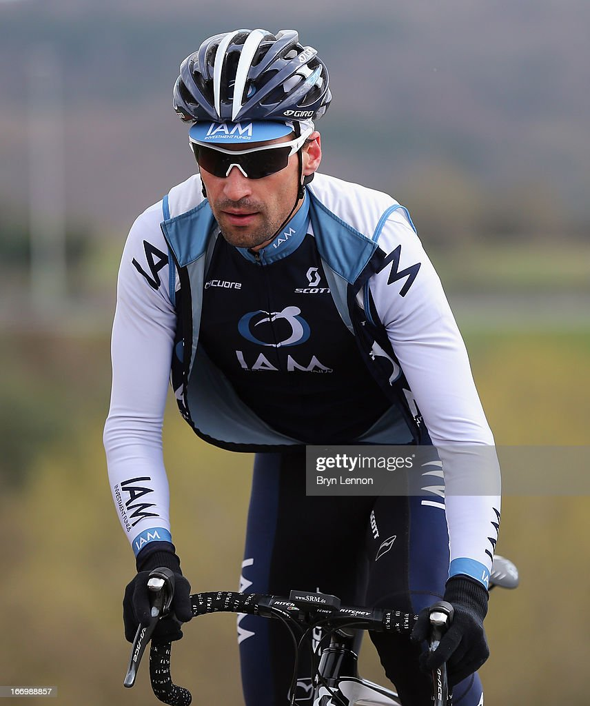 Remy Cusin of France and IAM Cycling climbs the Cote de La Redoute ahead of his team during training for the 99th Liege-Bastogne-Liege cycle road race on April 19, 2013 in Liege, Belgium. (Photo by Bryn Lennon/Getty Images).