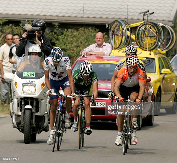 Remy De Gregorio Jan Kuyckx and Unai Extebarria leading the race at the start of the climb of the Stockeu during the 2007 Liege Bastogne Liege Pro...