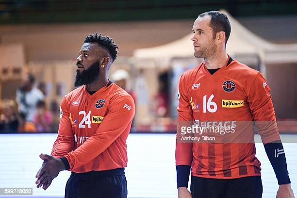 Remy Gervelas and Francois Xavier Chapon of Ivry during the Challenge Marrane 2016 match between Ivry and Kristianstad at Salle Halle Carpentier on...