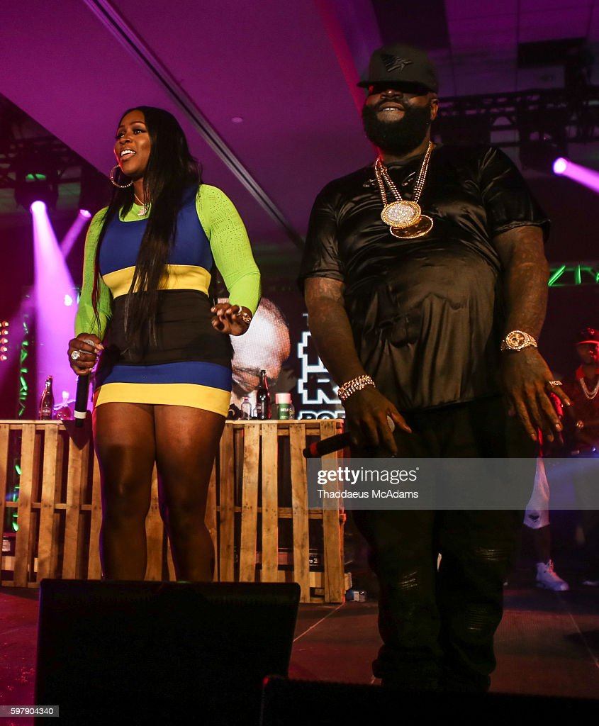 Remy Ma and Rick Ross performs at Jungle Island at Port of Miami 10 Year Anniversary concert by tidal on August 29 2016 in Miami Florida