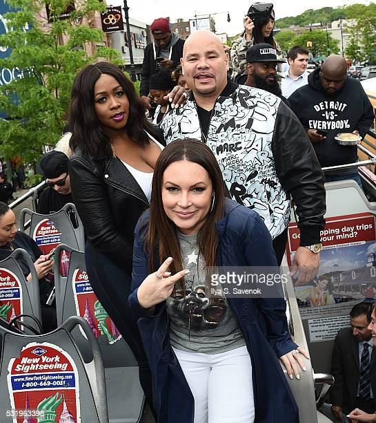 Remy Ma Angie Martinez and Fat Joe pose at Ride Of Fame ride with 'My Voice' at Bryant Park on May 17 2016 in New York City