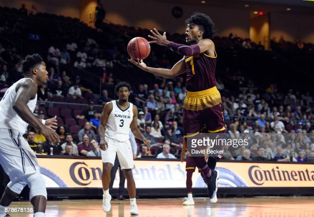 Remy Martin of the Arizona State Sun Devils looks to shoot against the Xavier Musketeers during the championship game of the 2017 Continental Tire...