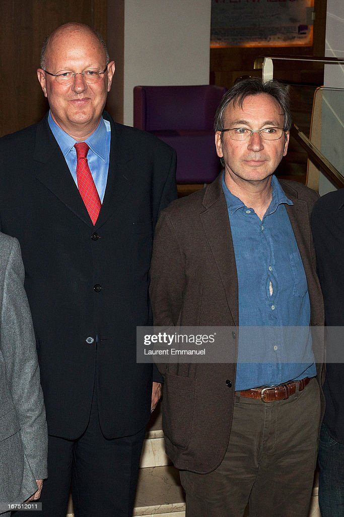 Remy Pfimlin, President of France Televisions, and director Alain Tasma attend 'Alias Caracalla' Paris Premiere at Cinema l'Arlequin on April 25, 2013 in Paris, France.