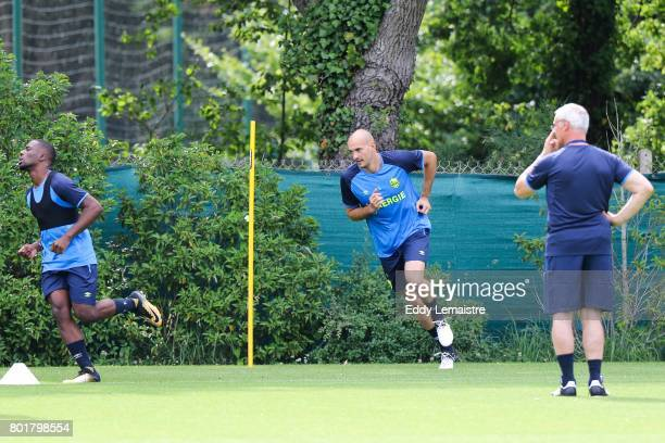Remy Riou Goalkeeper of Nantes and Claudio Ranieri Head coach of Nantes during Press conference and training session of Fc Nantes on June 26 2017 in...