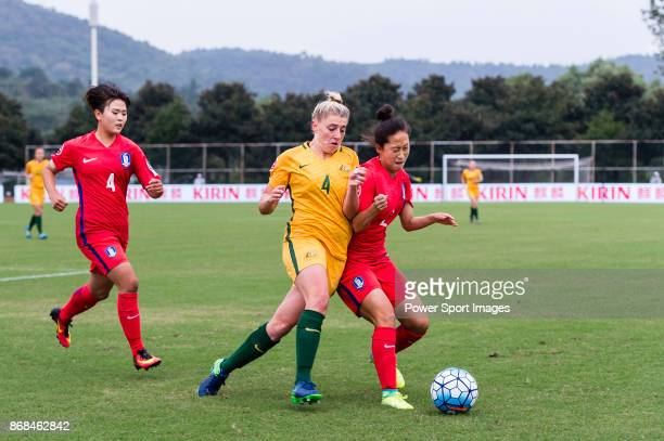 Remy Siemsen of Australia fights for the ball with Kim Jin Hui of South Korea during their AFC U19 Women's Championship 2017 Group Stage B match...