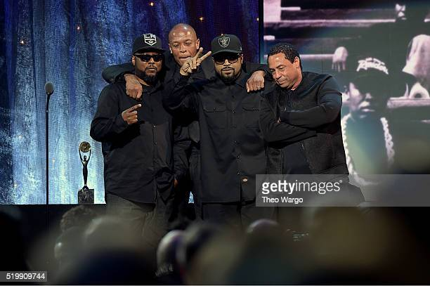 Ren Dr Dre Ice Cube and DJ Yella of NWA speak onstage at the 31st Annual Rock And Roll Hall Of Fame Induction Ceremony at Barclays Center on April 8...