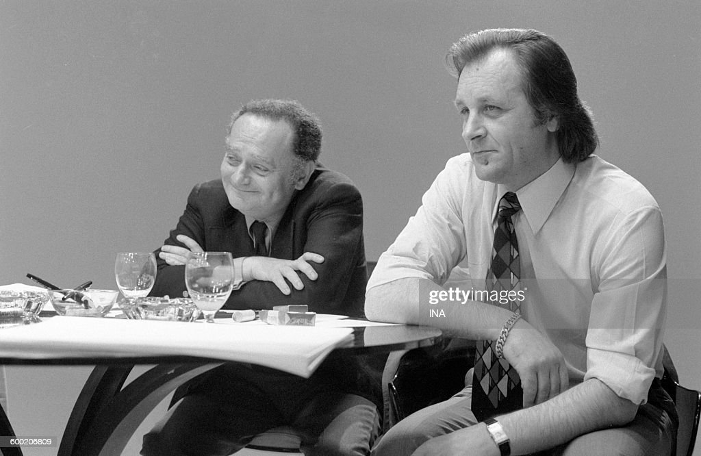 René Goscinny and Albert Uderzo during the recording of the television program 'As quick as a flash'.