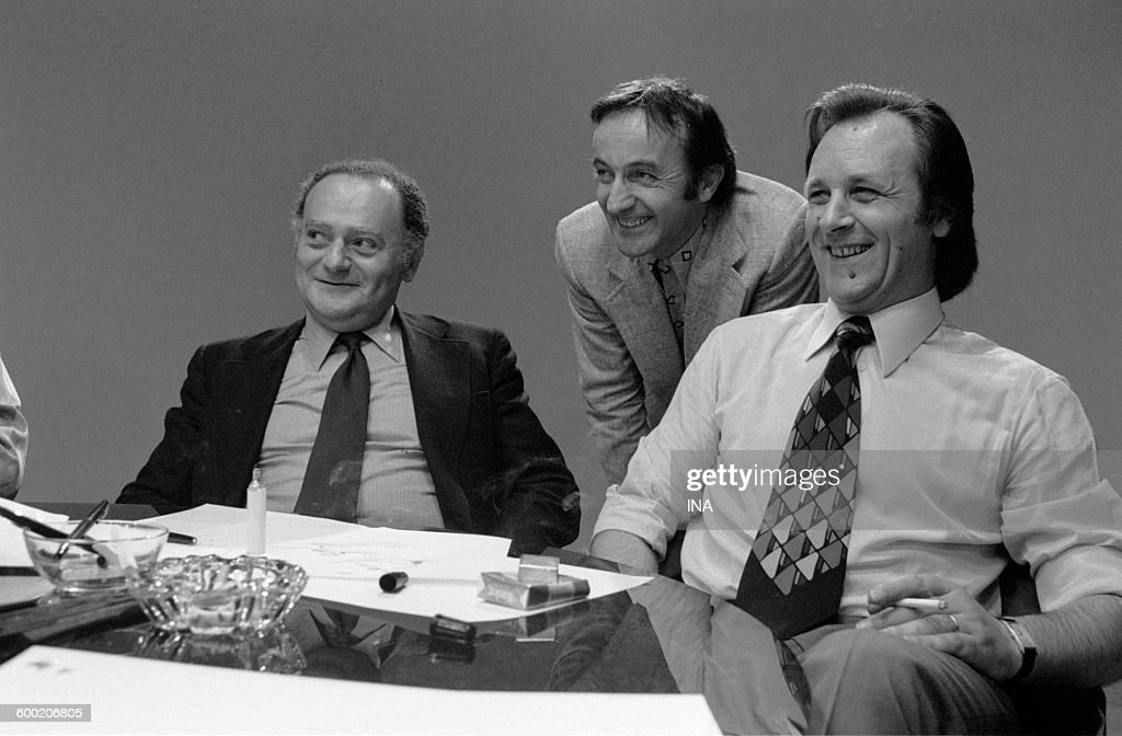 René Goscinny Jean Frapat and Albert Uderzo during the recording of the television program 'As quick as a flash'
