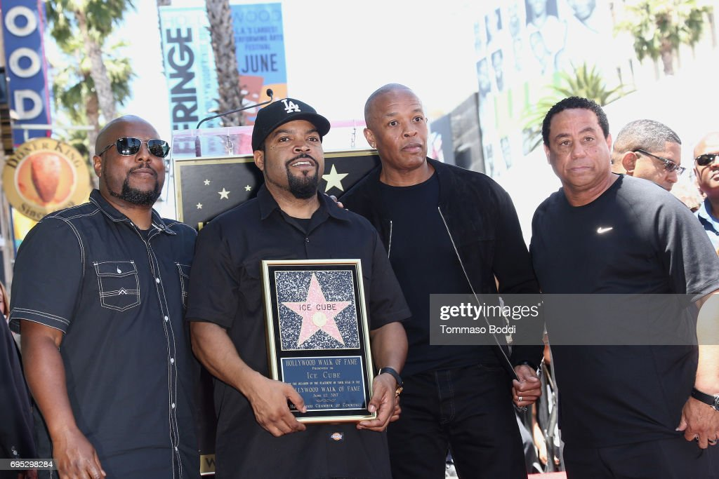 MC Ren, Ice Cube, Dr. Dre and DJ Yella attend a Ceremony Honoring Ice Cube With Star On The Hollywood Walk Of Fame on June 12, 2017 in Hollywood, California.