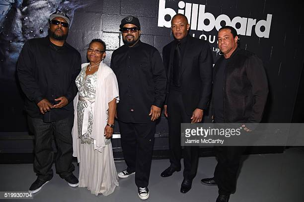 MC Ren Katie Wright Ice Cube Dr Dre and DJ Yella attend the 31st Annual Rock And Roll Hall Of Fame Induction Ceremony at Barclays Center of Brooklyn...